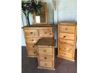 Solid Oak Bedroom Set Chest of Drawers, bedsides, mirror 4 pieces