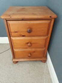 Pair of Solid pine 3 drawer bedside tables £30
