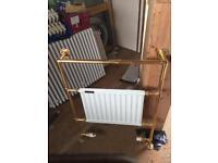 Old brass towel radiator