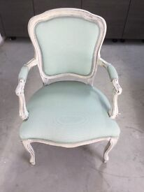 Louis-style armchair- handmade in Italy. Shabby chic with duck egg blue fabric seat and backrest.