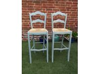 Breakfast Bar Stools - Unpainted Wooden with Wicker Removable Seat x 2