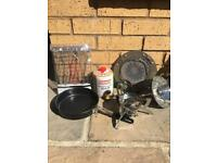 Folding gas stove & heater plus accessories