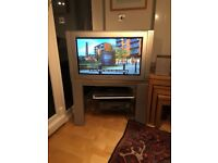 """23 """" Panasonic television on Stand with shelves for DVD player and Viewbox"""
