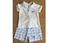Zip Zap boys shorts and tshirt set. In blue and white
