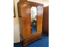 Vintage Walnut Veneer Single Door Edwardian Style Wardrobe