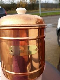 Tea Canister - metal copper colour