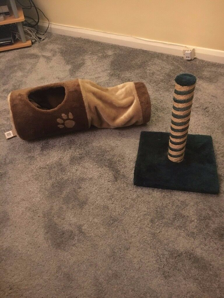 Cat's scratching post and toy basket