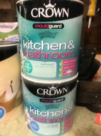 Crown mouldguard kitchens &bathrooms cool aqua 2.5 ltrs paint -£8 per tin
