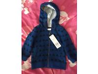 9-12 month baby boy hoodie, never worn
