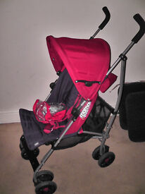 Mamas and papas red swirl buggy - used once with raincover - as new
