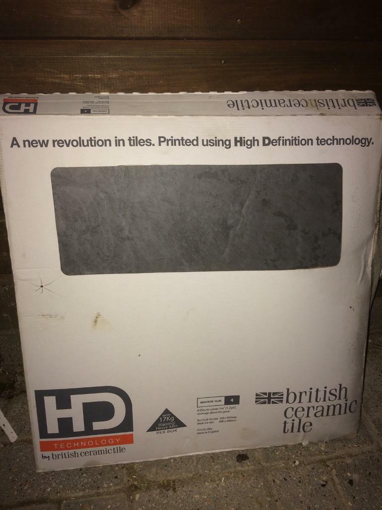 Bathroom tiles - Slate effect, grey. HD technology - British Ceramic Tile - 1m2 - 4 no 500x500 tiles