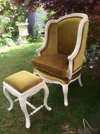 As new gold velvet French chair and stool