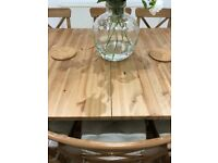 IKEA Extendable table STORNÄS Antique stain Solid Wood (and 8 x INGOLF Chairs) NEAR NEW