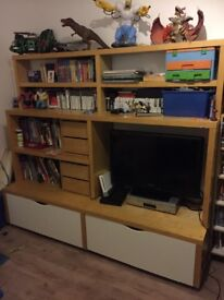 Large ikea bookshelf storage tv unit with drawers