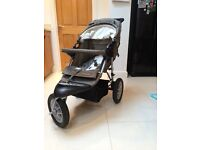 Mothercare Pushchair with car seat, foot muff, rain cover, tyre pump.