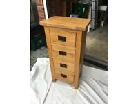 Solid oak bedroom furniture set - 2 door wardrobe, 6 drawer chest, 4 drawer chest