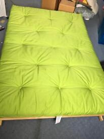 Futon, double bed with pine base