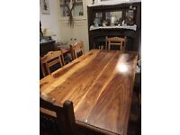 Solid wood 8 seater dining table set with 6 matching chairs