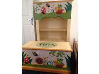 bespoke handmade children quality toy box and book shelf unit