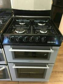 HOTPOINT 60CM GAS DOUBLE OVEN COOKER IN SILVER