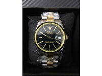 Rolex Datejust Bi metal Black Dial, Automatic Watch, Metal Strap