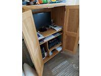 solid oak computer cabinet