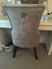 Crushed silver dining room/bedroom chair