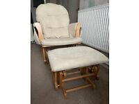Veelar Natural Glider Nursing Rocking Chair with Gliding Footstool