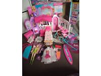 Barbie house, furniture, 3 dolls etc bundle