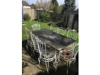 Portuguese marble and wrought iron 8 seater table with 8 chairs