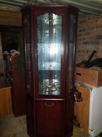 Wooden glass corner display cabinet