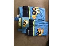 """Next little digger tab top lined curtains (53""""x54"""") and light shade"""