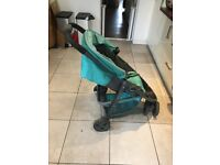 Graco Evo Mini Stroller / buggy / pushchair in turquoise with rain cover