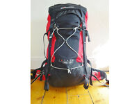 Berghaus Extrem Crag 45+10 litres climbing packpack, red & black - little used, in good condition