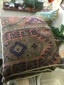 Old kilim cushions x three feather filled