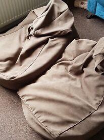 2 x large brown bean bag seats