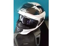 shox tracer motorcycle helmet with interior flip down dark visor