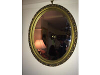Pretty Ornate Gilt Carved Antique Oval Mirror Gold Wood Frame