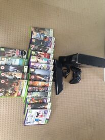 X Box 360 plus Kinect and 20 games
