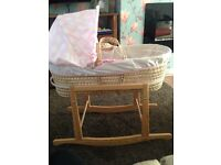 Clair de lune girls Moses basket and rocking stand