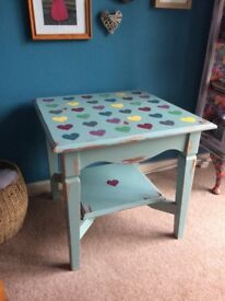 Hand painted vintage side table.