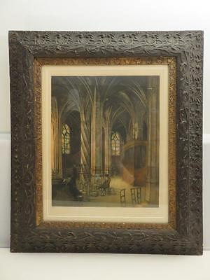 Antique Watercolor Saint Severin Paris Twisted Palm Tree Column Gesso Frame 31