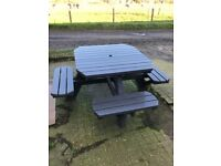Garden Bench/Table; sits 8; great condition, primed and painted (charcoal).