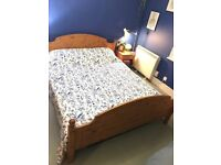 Quality Stylish Pinewood King Size Bed Frame Only For Sale Bargain