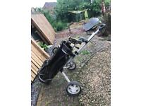 Wilson golf clubs bag and trolley