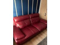 Oxblood Red Leather 3 and 2 seater Couch