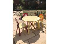 Toddler wooden animal table x3 chairs