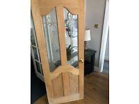 Exterior hardwood door, beautiful leaded glass and detailing