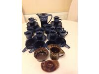 "34 Pieces of ""KERNEWEK"" Retro Cornish Drip Ware Pottery c 1960/70's"