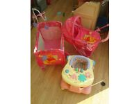 DISNEY WINNIE THE POOH DOLLS PRAM AND TRAVEL COT ALSO BABY WALKER NOT DISNEY £15 FOR ALL OF IT